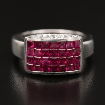 Modern 18K Ruby and Diamond Ring