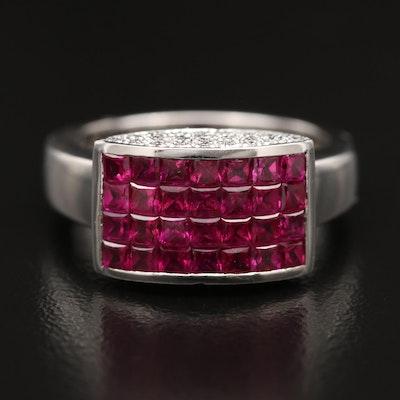 Modern 18K Ruby and Diamond Ring
