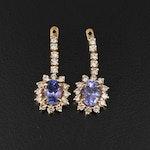 18K Tanzanite and Diamond Earring Enhancers