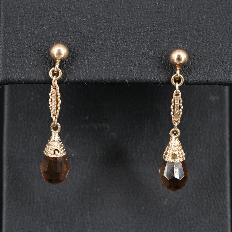 14K Briollette Glass Drop Earrings