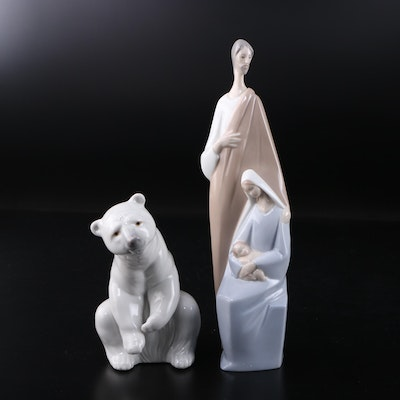 "Lladró ""Nativity"" and ""Resting Polar Bear"" Porcelain Figurines"