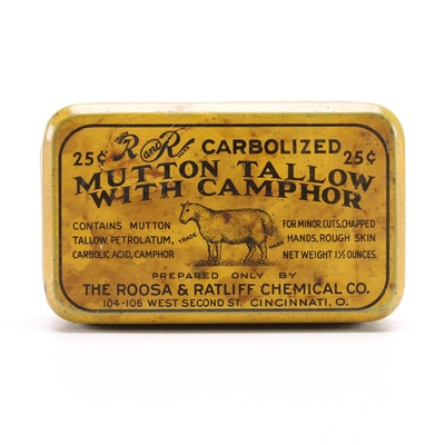 Roosa & Ratliff Chemical Co. Mutton Tallow with Camphor Tin