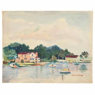 """Michael Lemmermeyer Watercolor Painting """"No. 8 Lake Landscape"""""""
