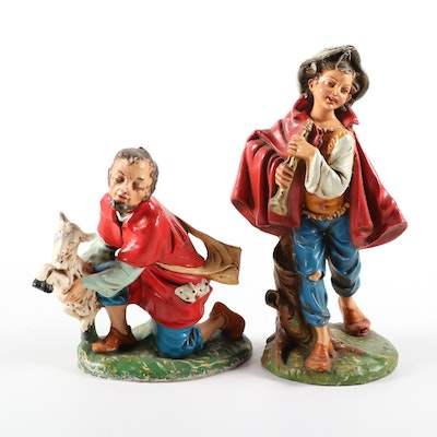 "Fontanini ""Daniel with Horn"" and Shepherd Papier-mâché Nativity Figurines"