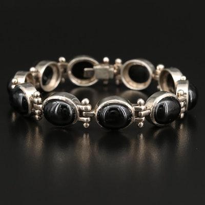 Sterling Black Onyx Link Bracelet