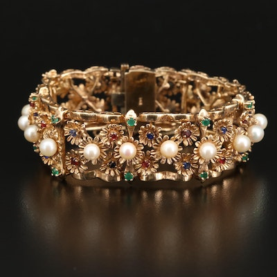 14K Bracelet with Pearl, Sapphire, Chalcedony and Garnet