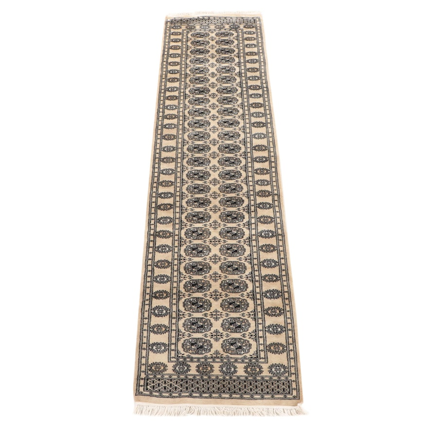 2'7 x 10'5 Hand-Knotted Afghani Bokhara Wool Carpet Runner