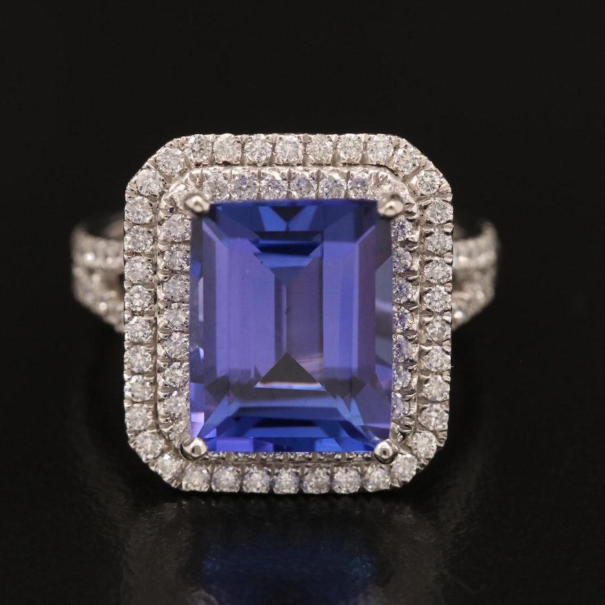 Platinum Tanzanite and 1.05 CTW Diamond Halo Ring