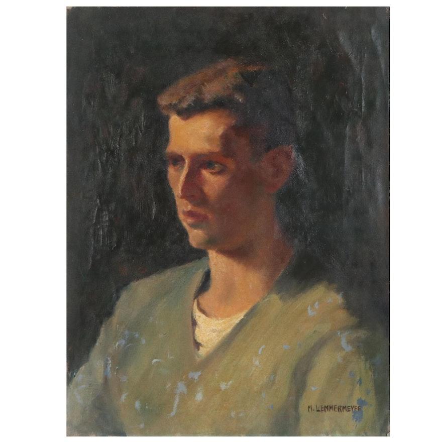 Michael Lemmermeyer Oil Portrait, Mid 20th Century