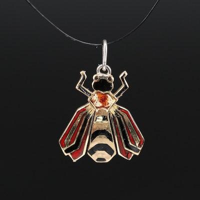 18K Enamel Insect Pendant