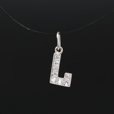 Platinum Diamond 'L' Charm