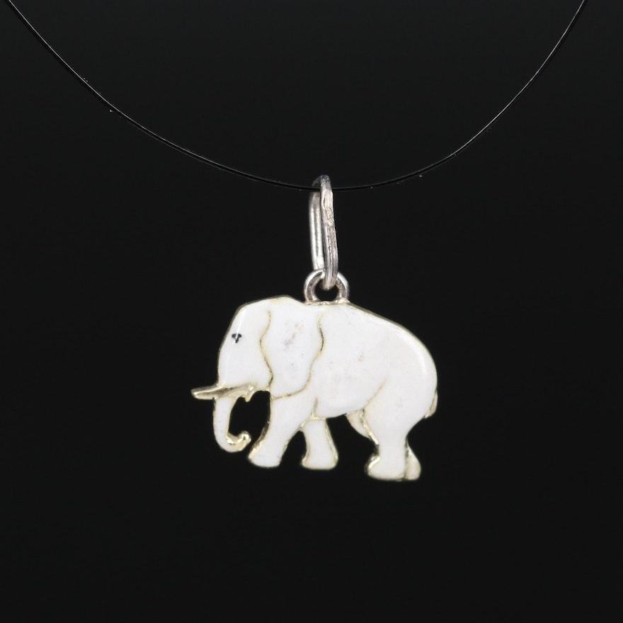 14K Enamel Elephant Pendant