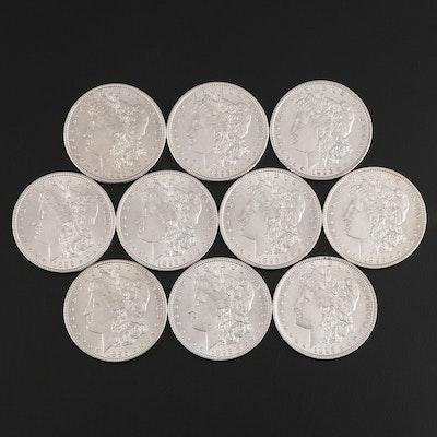Ten 1896 Morgan Silver Dollars