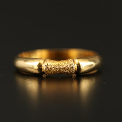 18K Band with Bamboo Motif and Stippled Finish
