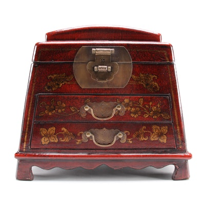 Charlie Lapson Red Lacquered Chinoiserie Vanity Box