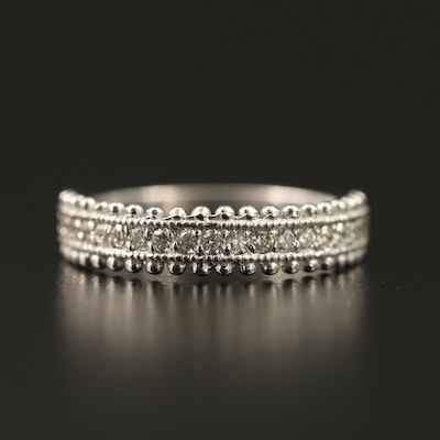 14K Diamond Band with Beaded Detailing