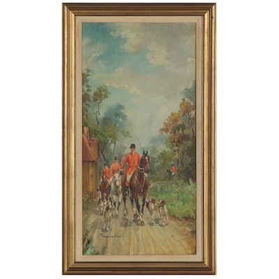 English Fox Hunting Oil Painting, Early 20th Century