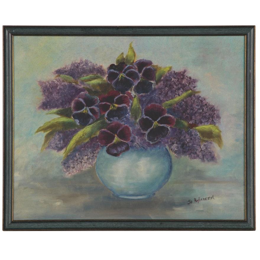 Jo Rybarczyk Still Life Oil Painting, Late 20th Century