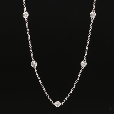 14K 1.33 CTW Diamond Station Necklace