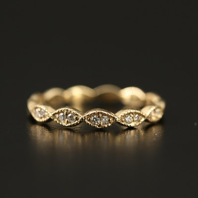 14K Diamond Band with Scalloped Design