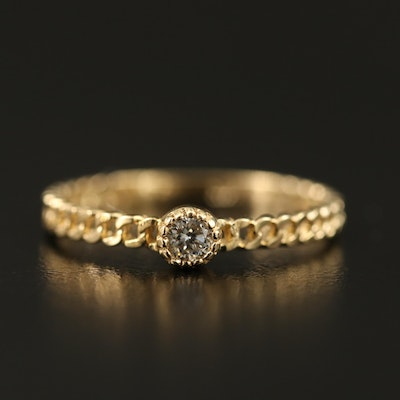 14K Diamond Solitaire Ring with Curb Link Design