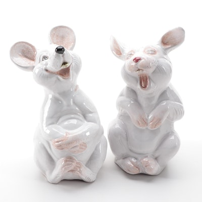 Italian Laughing Mouse and Rabbit Ceramic Figurines, Mid to Late 20th Century