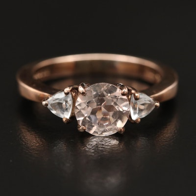 Sterling Morganite and Topaz Three Stone Ring