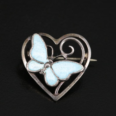 Volmer Bahner Danish Sterling Enamel Heart and Butterfly Brooch