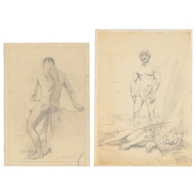 William Douglas Rosa and Raphael Soyer (attributed) Graphite Drawings