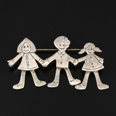 Sterling Children Articulated Brooch