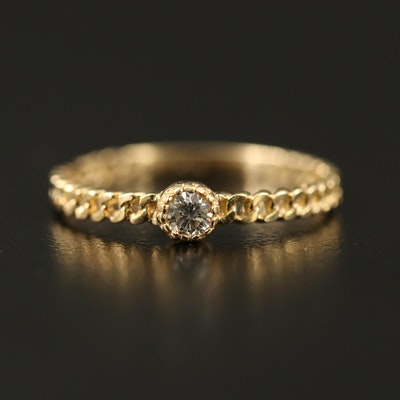 14K Diamond Solitaire Band with Chain Link Detail