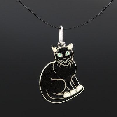 14K Enamel Cat Charm