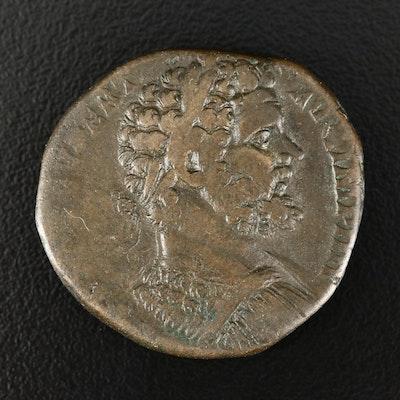 Ancient Roman Imperial AE Sestertius Coin of Septimius Severus, ca. 194 A.D.