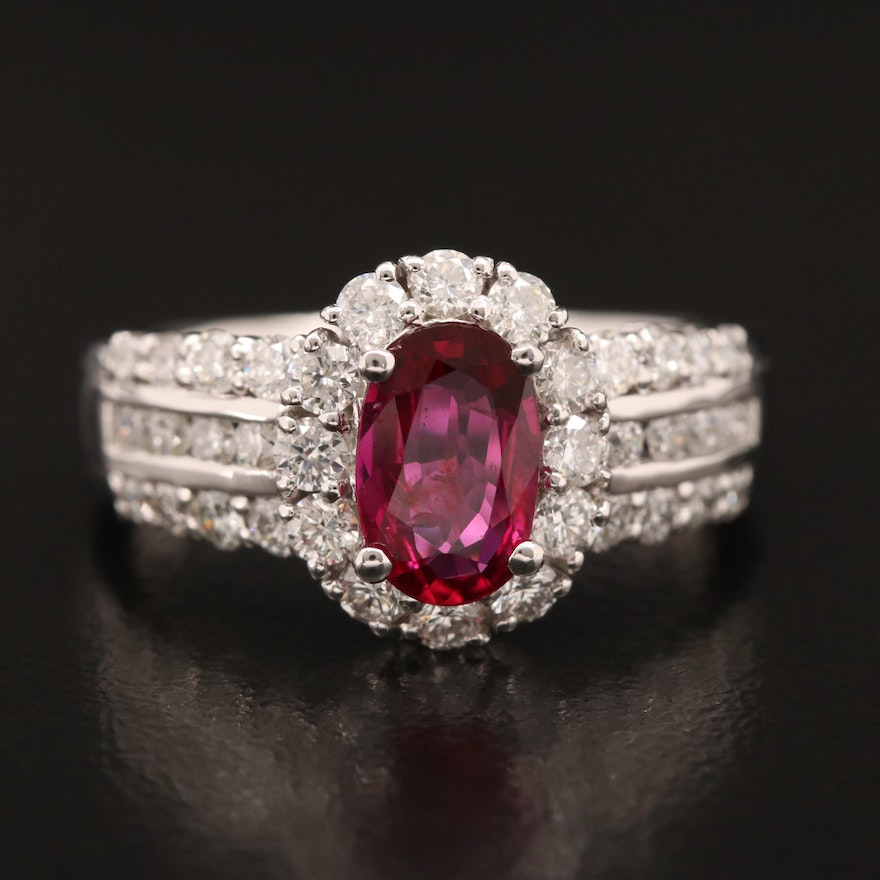 Platinum 1.02 CT Ruby and Diamond Ring with GIA Report