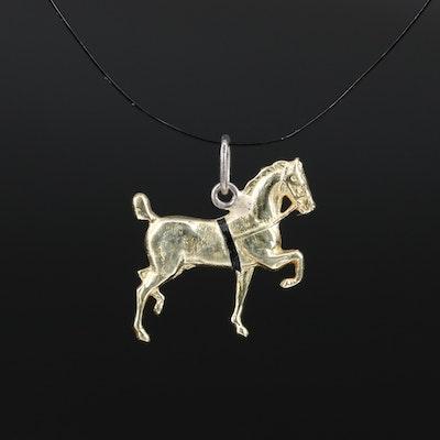 14K Enamel Trotting Horse Charm