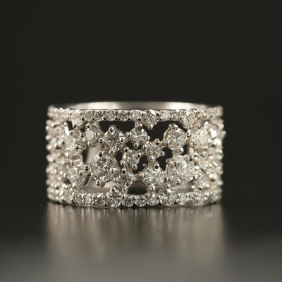 14K 1.70 CTW Diamond Openwork Cluster Band