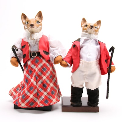 Mr. and Mrs. Equestrian Fox Figurines on Stands, for Delhi Garden