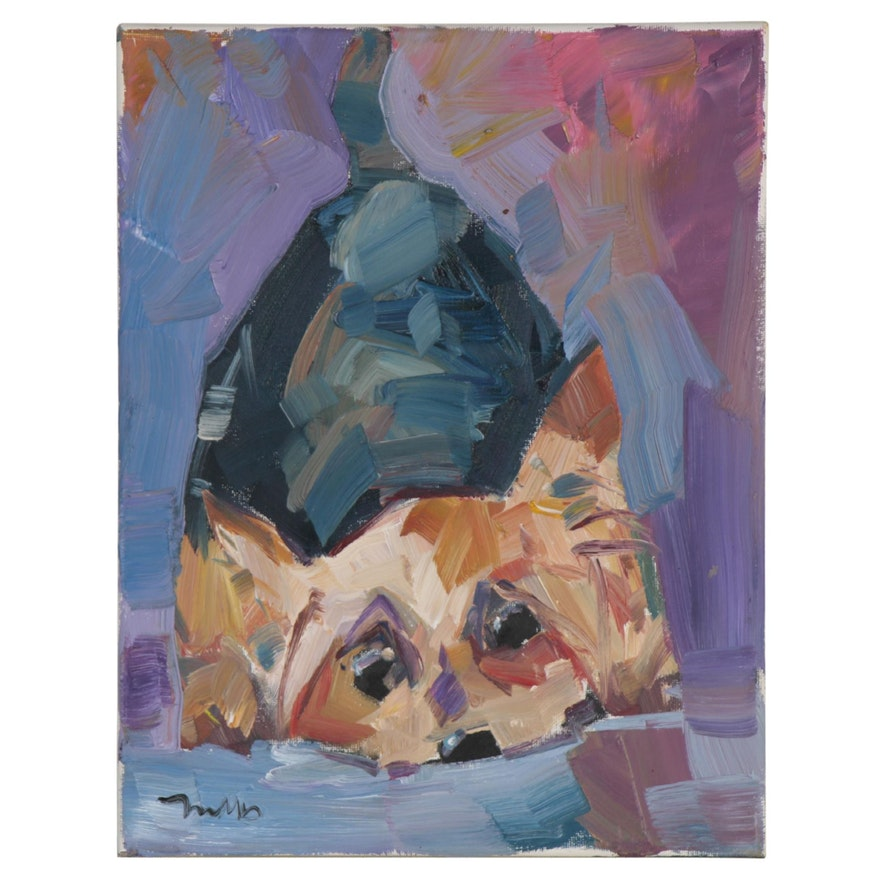 "Jose Trujillo Oil Painting ""Down Dog"", 2020"