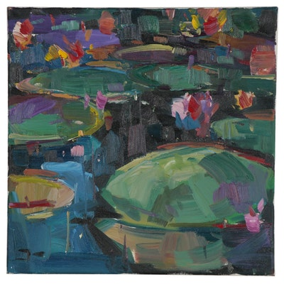 "Jose Trujillo Oil Painting ""Water Lilies,"" 2019"