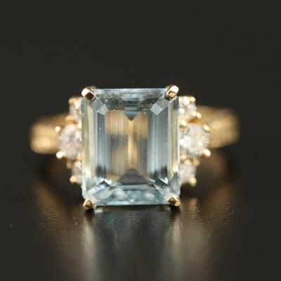 14K 5.22 CT Aquamarine and Diamond Ring with Wheat Sheaf Shoulders