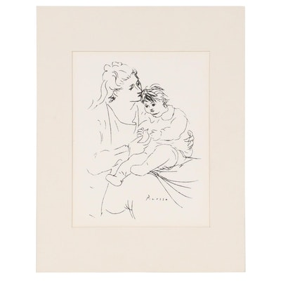 "Lithographic Print after Pablo Picasso ""Mother and Child"""