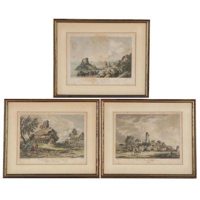 """Hand-Colored Engravings from """"Voyage Pittoresque de Naples et de Sicile"""""""