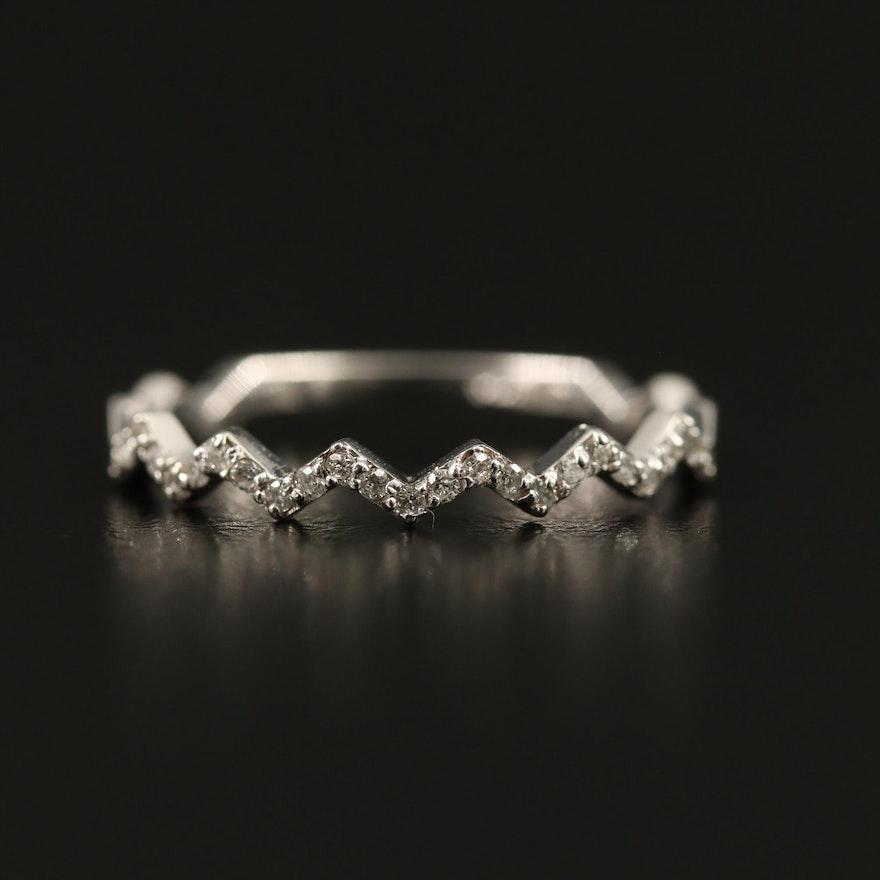 14K Diamond Band with Zig-Zag Design