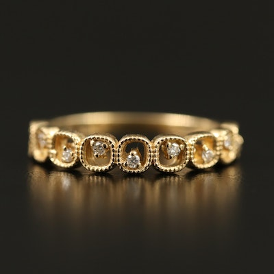 14K Diamond Openwork Band with Geometric Design