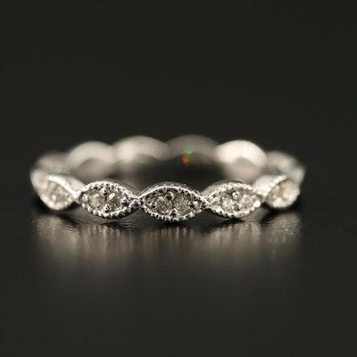 14K Diamond Band with Milgrain Detailing