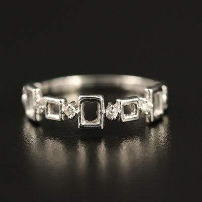 14K Diamond Geometric Band