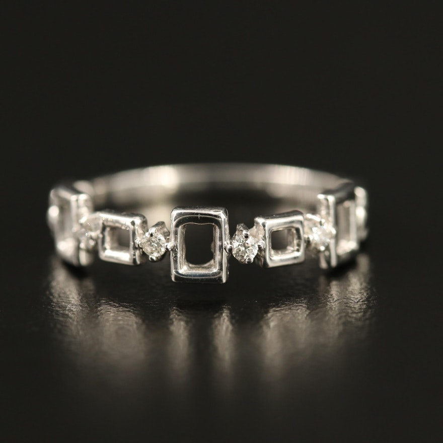 14K Diamond Geometric Band