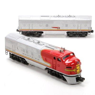 Lionel O Scale 2243 Santa Fe A-B Diesel Locomotive Pair, Mid 20th Century