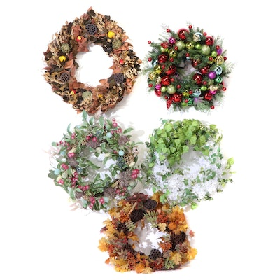 Grandin Road Lighted Christmas Wreath and Other Seasonal Wreaths