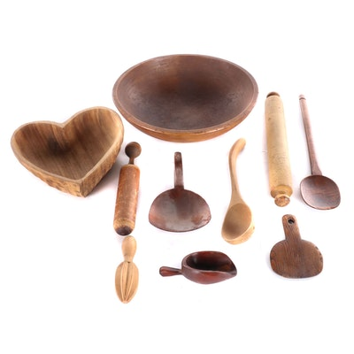 Turned Wood Bowls and Kitchen Utensils, 20th Century